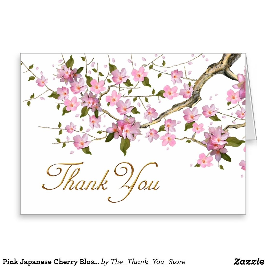 pink japanese cherry blossoms thank you cards  zazzle
