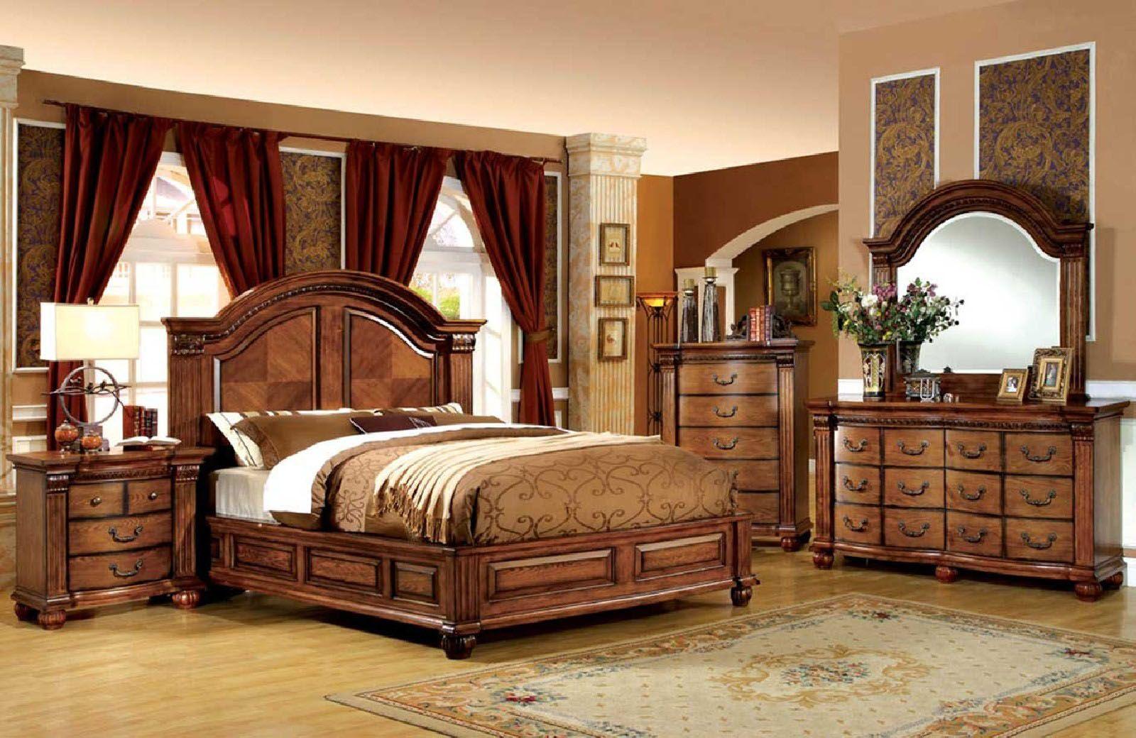 Furniture Of America Bellagrand 4pc Panel Bedroom Set In Antique Tobacco Oak In 2021 King Bedroom Sets Wood Bedroom Sets King Bedroom Furniture