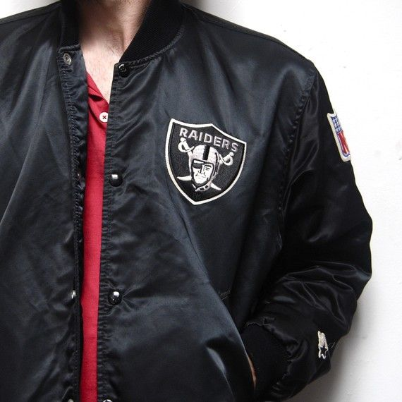 4bcc5d6a0e1c3 vintage 80's LA RAIDERS black satin STARTER jacket made in USA ...