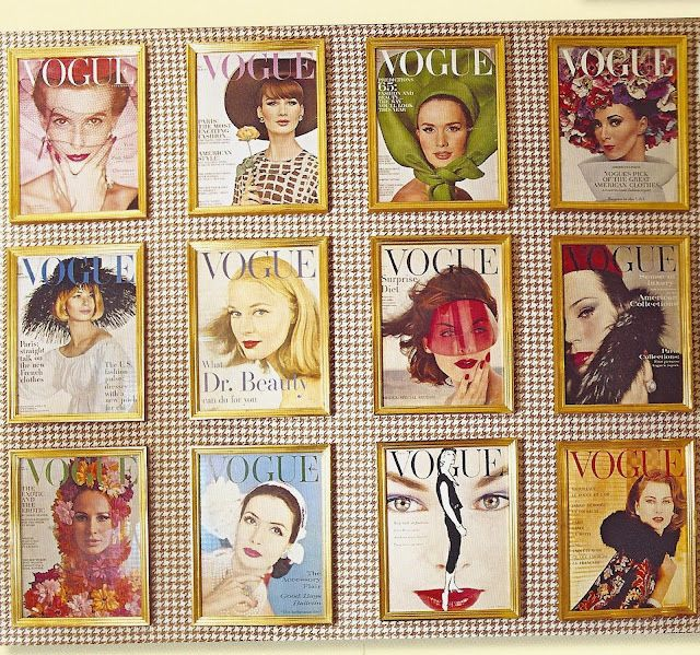vintage vogue magazines framed by charlotte moss for display in her powder room - Vogue Decor Magazine