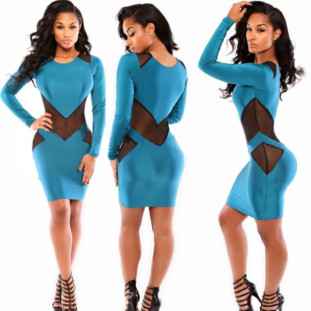 BLUE PATCHWORK VOILE BODY CON BANDAGE DRESSES SUMMER NEW WOMEN ...