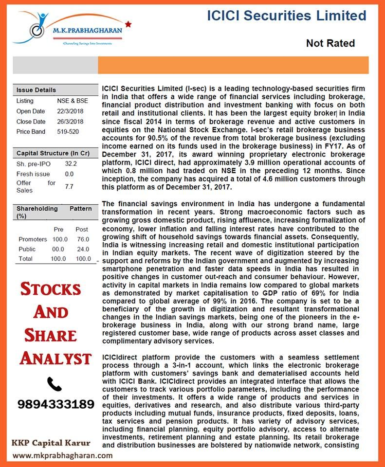 Icici Securities Limited For Better Investment Contact Mr K P