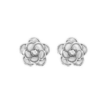 White Gold Rose Flower Stud Earrings with Diamond Accents These