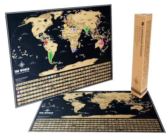 Scratch f World Map Black & Gold World Travel Tracker Map