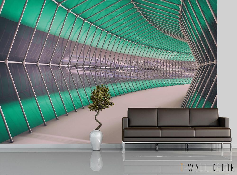 3d Sci Fi Tunnel Wallpaper Mural Room Art Graphic Grey Green Path