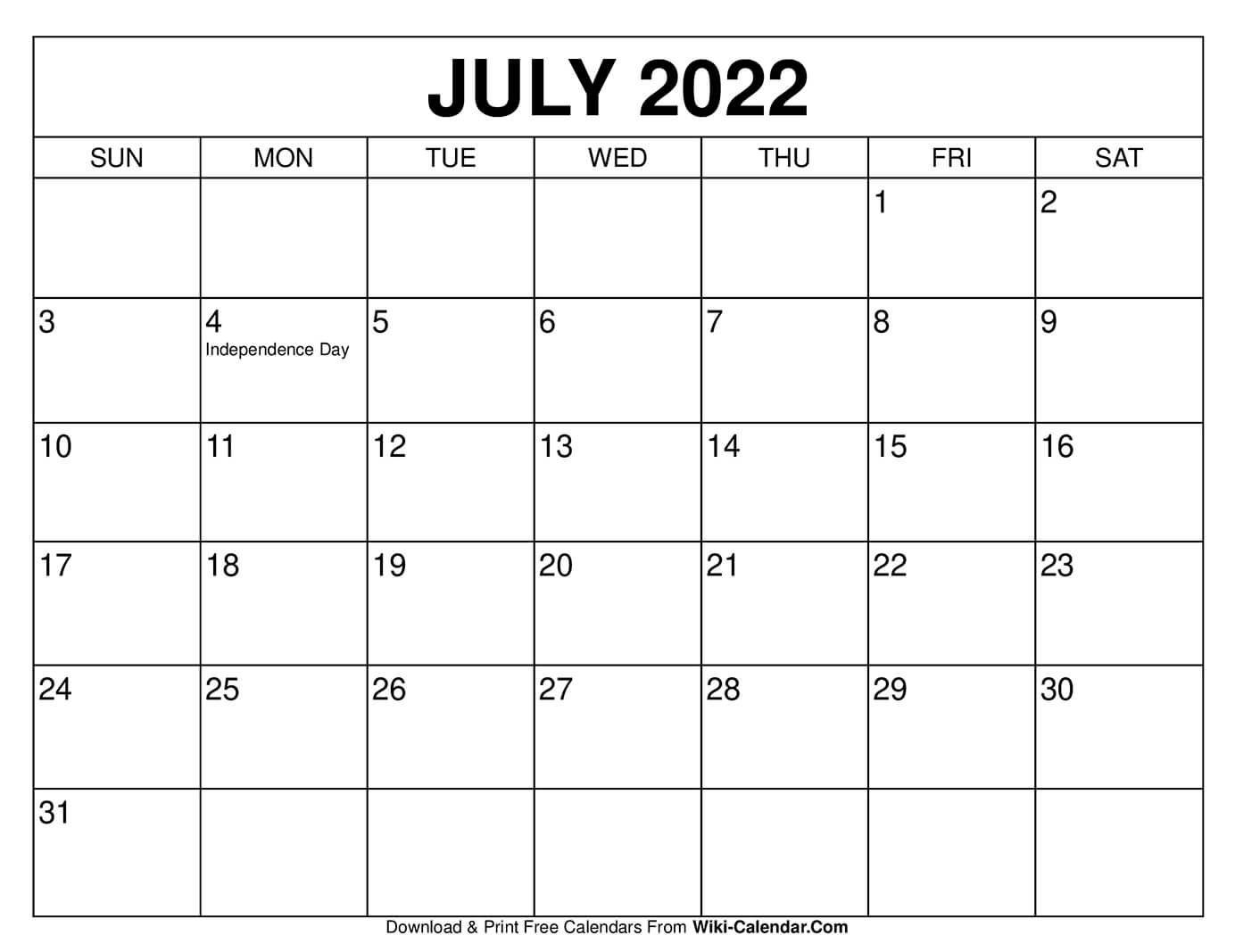 July 2022 Calendar In 2020 2020 Calendar Template Free Printable Calendar Templates Calendar Template