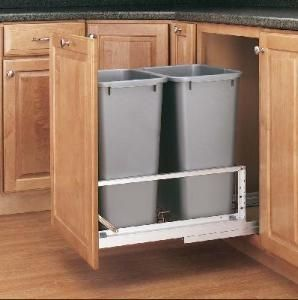 Outdoor Kitchen Pull Out Trash Can & RevAShelf Double Pull Out Full  Extension Slides Chrome