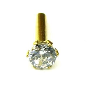 Single stone CZ Piercing Nose Stud Nose Pin Solid 14k Yellow Gold from India