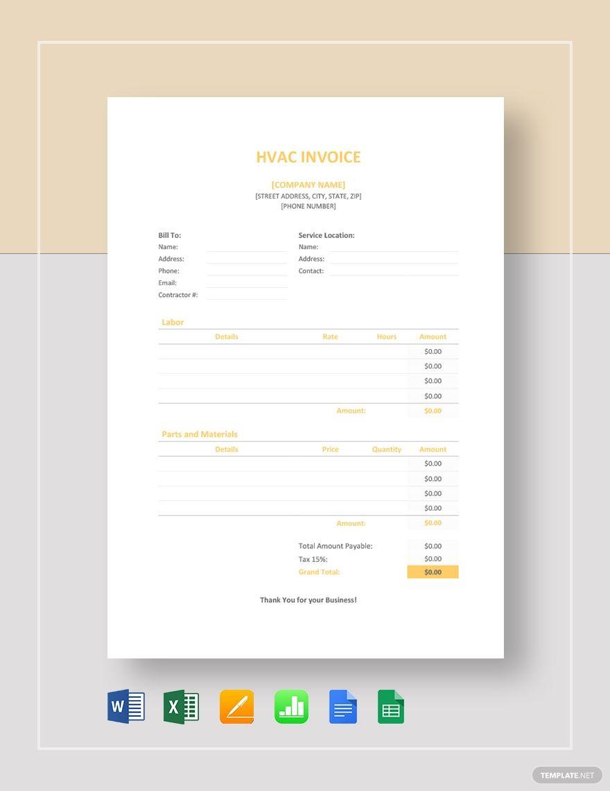 Hvac invoice template in 2020 invoice template