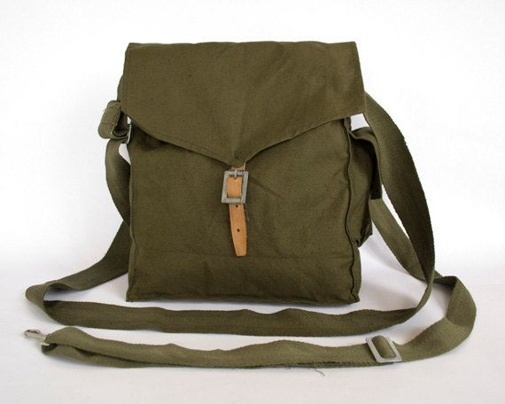 Satchel Shoulder Pack Sack School New Military Style Black Canvas Bread Bag