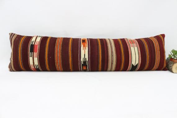 12x48 Kilim Pillow, Antique Pillow, Neck Pillow, Throw Pillow, Cushion Cover, Boho Pillow, Red Pillo