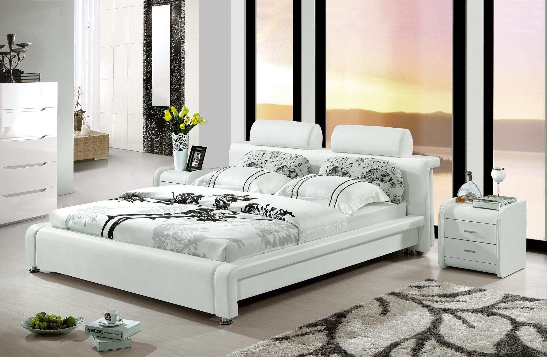 white king size modern bed china leather beds