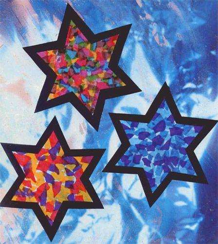 Stained Tissue Stars craft for kids | Bricolage noël ...