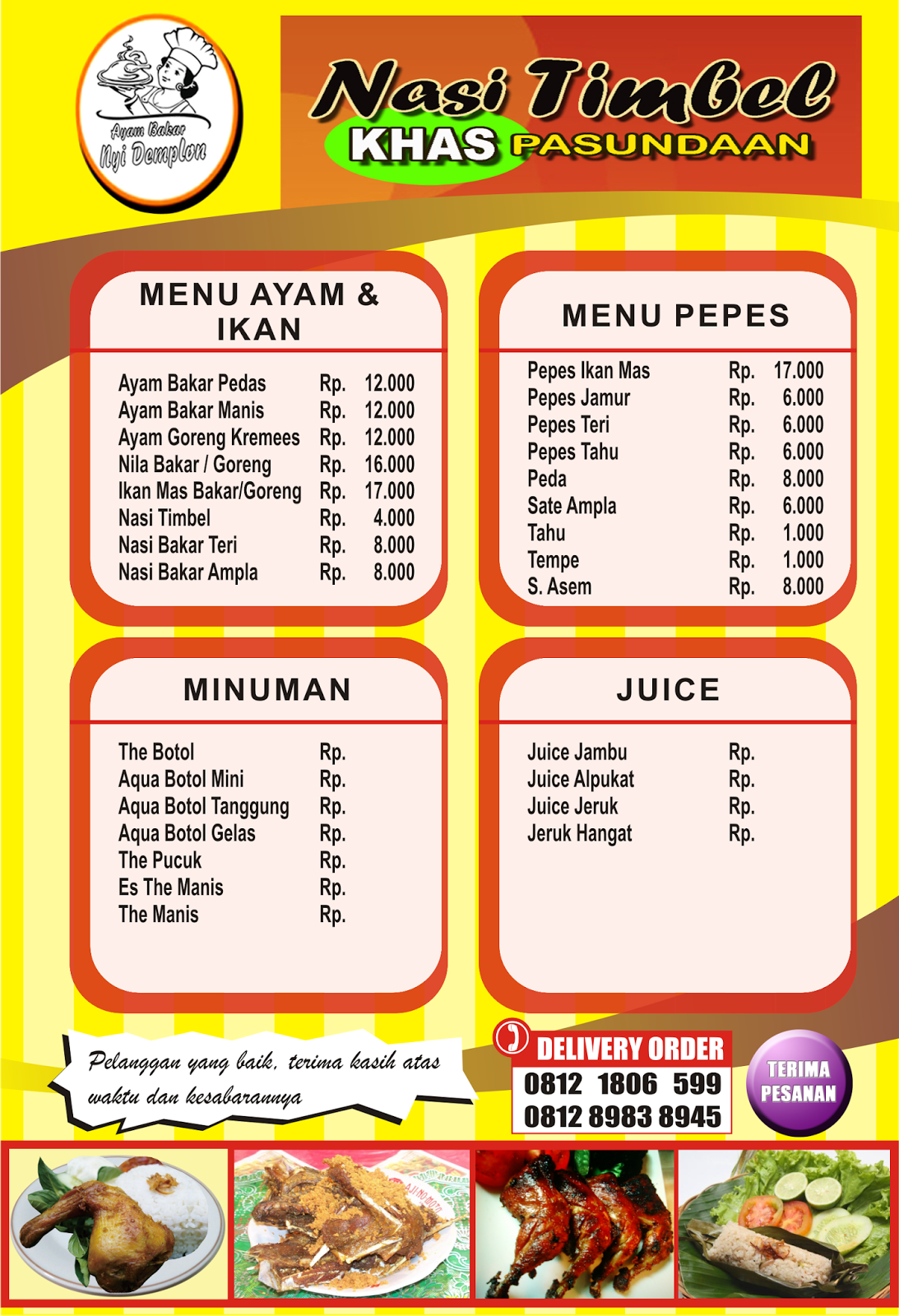 Contoh Desain Daftar Menu Makanan Dan Minuman Desainer