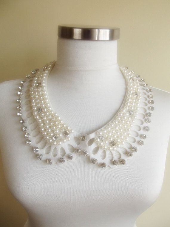 detachable peter pan collar necklace beads bridal by trendycollars, $29.00