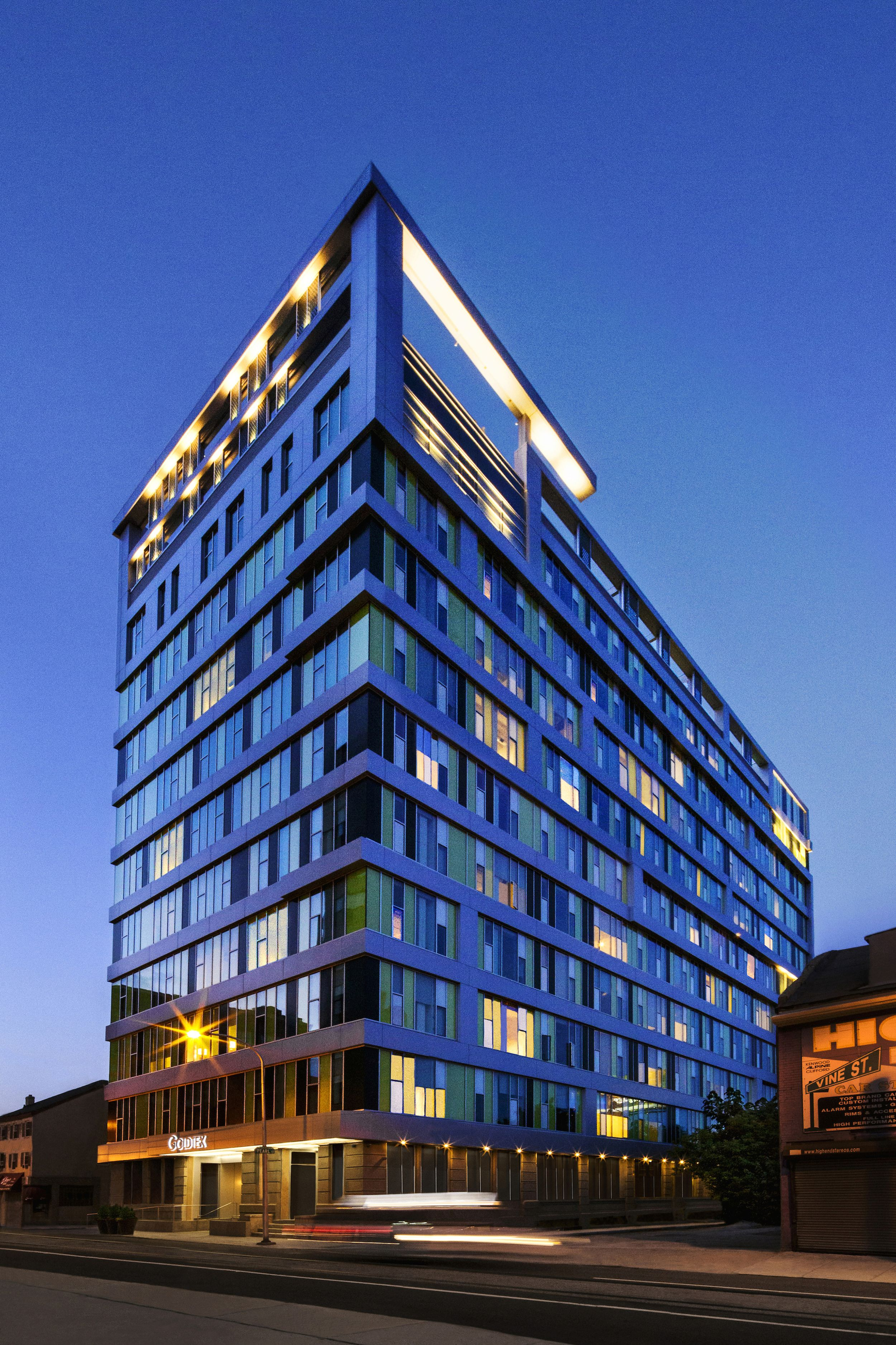 Goldtex shines in the night sky -- Luxury apartment ...