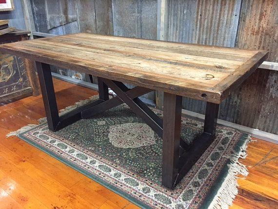 Massive Rustic Farm Table Leg Base Castiron Industrial Antique