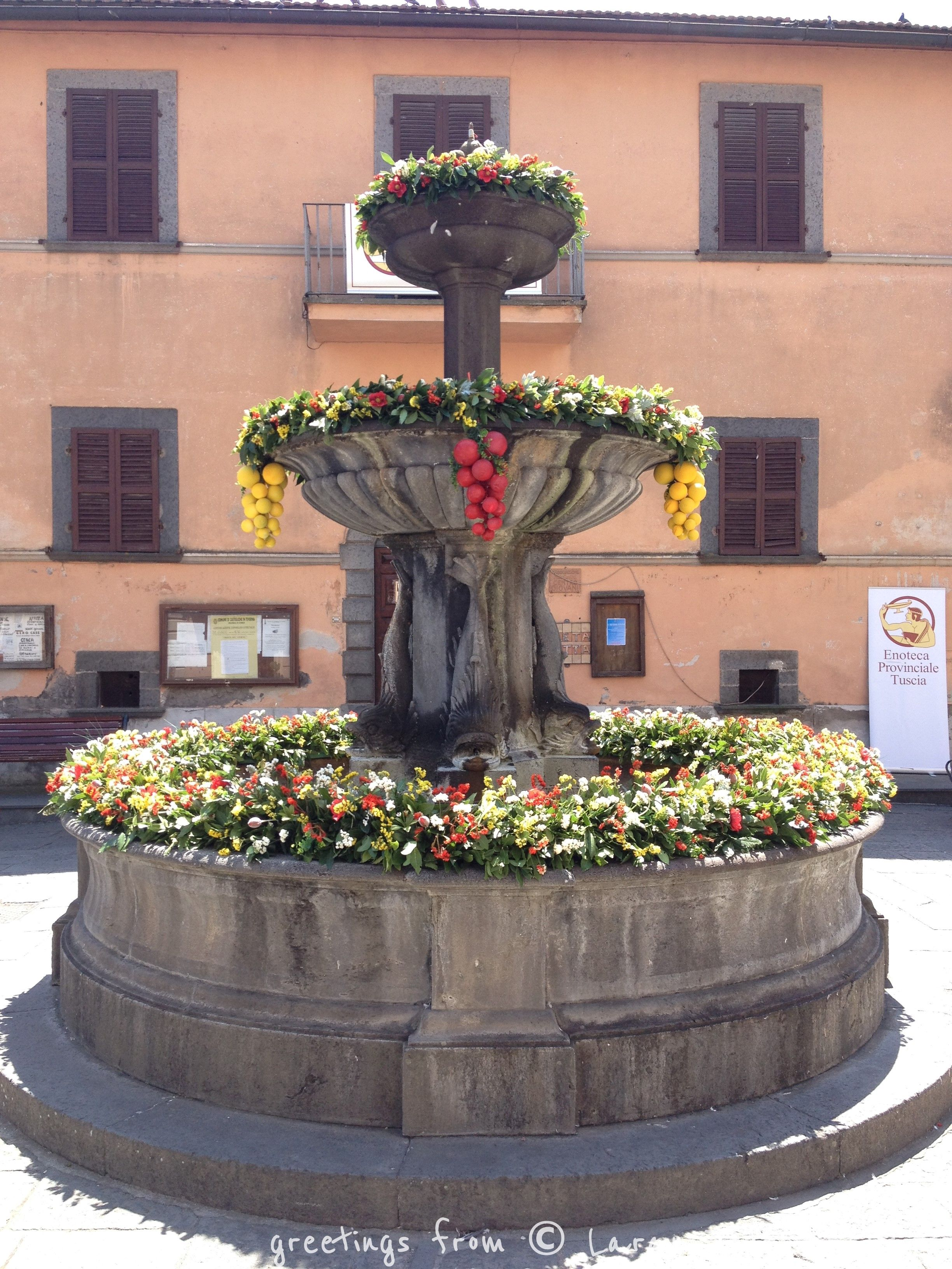 A beautifully fountain ready for the winefest in ...