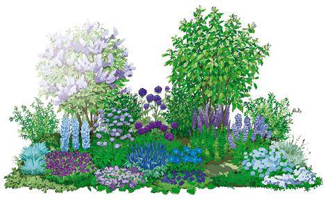 ein beet in blau: prachtvolle bepflanzung   bepflanzung, blau und, Garten ideen
