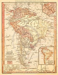 Ejemplo del vintage del mapa de Suramérica. descarga digital antigua ...