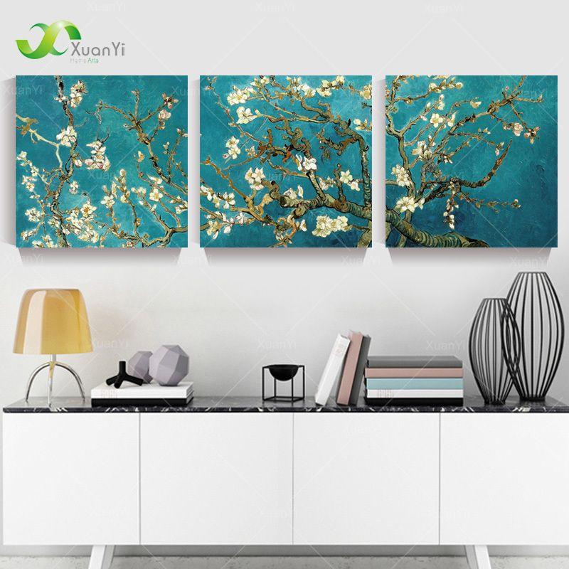 3 panel Modern impreso Van Gogh Árbol de la flor pintura cuadro ...