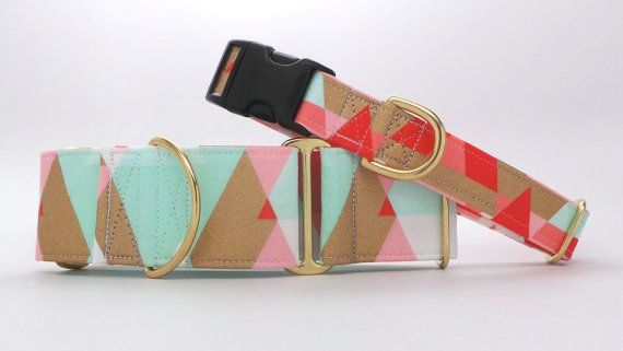 Mint Coral and Gold Mountains Dog Collar by dogsbythebay on Etsy