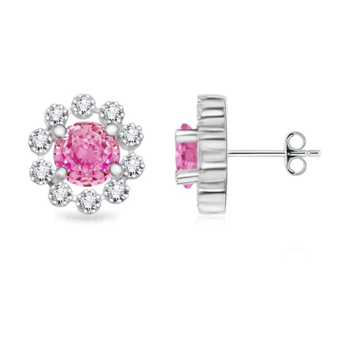 Angara Diamond Halo and Oval Pink Tourmaline Flower Stud Earrings in Platinum QsguNr6