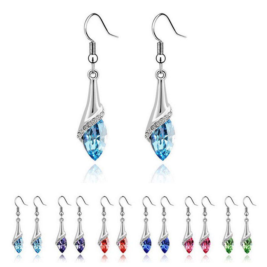 18K White Gold GP Swarovski Crystal Marquise Cut Teardrop Wedding Earrings Gift #Unbranded #DropDangle