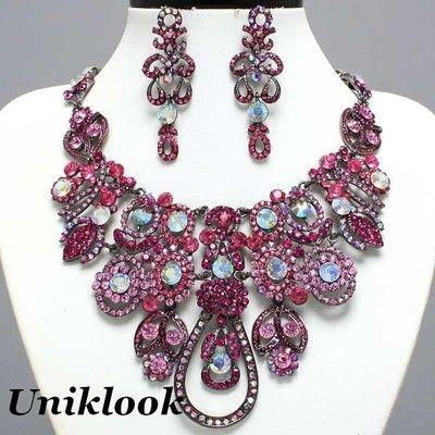 Rich Pink Clear Ab Bib Crystal Statement Necklace Set Fashion Costume jewelry