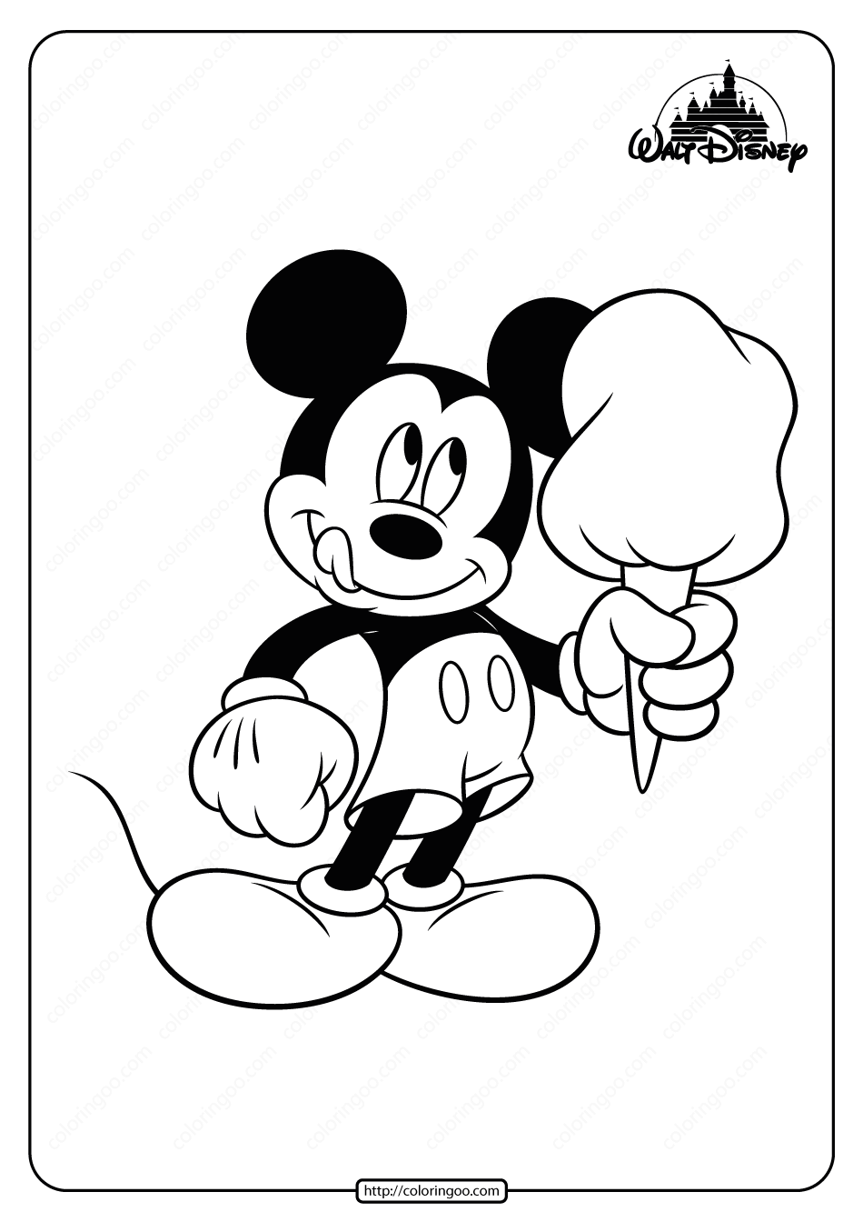 Printable Mickey Mouse Cotton Candy Coloring Page Disney Coloring Pages Candy Coloring Pages Minnie Mouse Coloring Pages