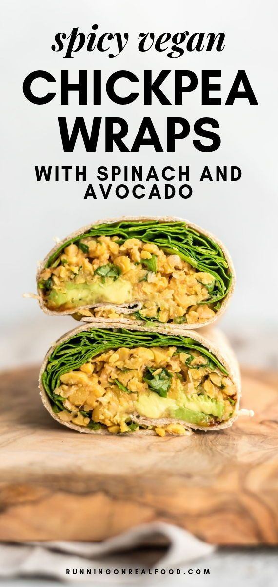 Spicy Chickpea Wraps with Spinach and Avocado - Vegan Lunch Ideas - #Avocado #Chickpea #ideas #Lunch...