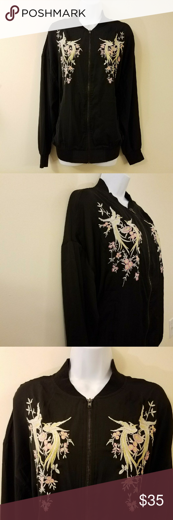 Buffalo Bitton Black Embroidered Bomber Jacket NWT in My Posh