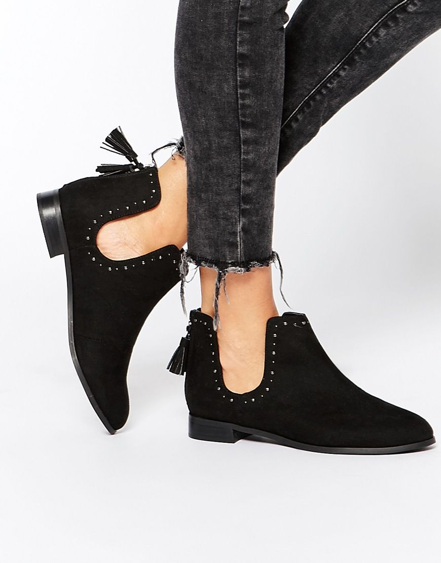 Buy Women Shoes / Asos A Moment To Think Stud Tassel Ankle Boots