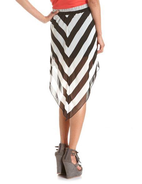 Hanky Hem Chevron Stripe Skirt: Charlotte Russe