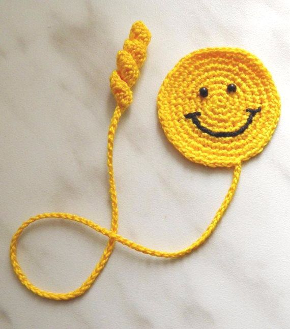 Crochet marcador sonriente cara libro accesorios por ElenaGift