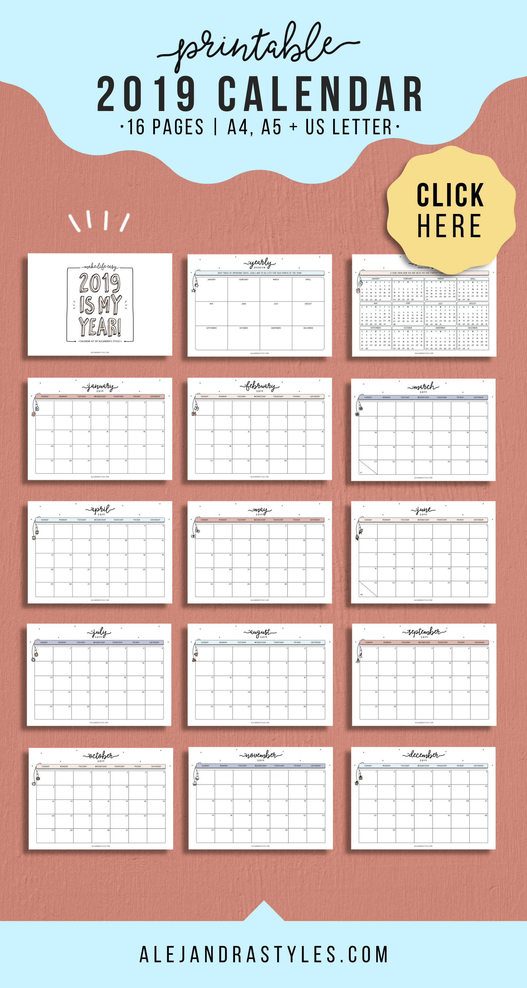 photograph about Fun Printable Calendar identified as 2019 Calendar Printable Planner for Table or Wall Monday