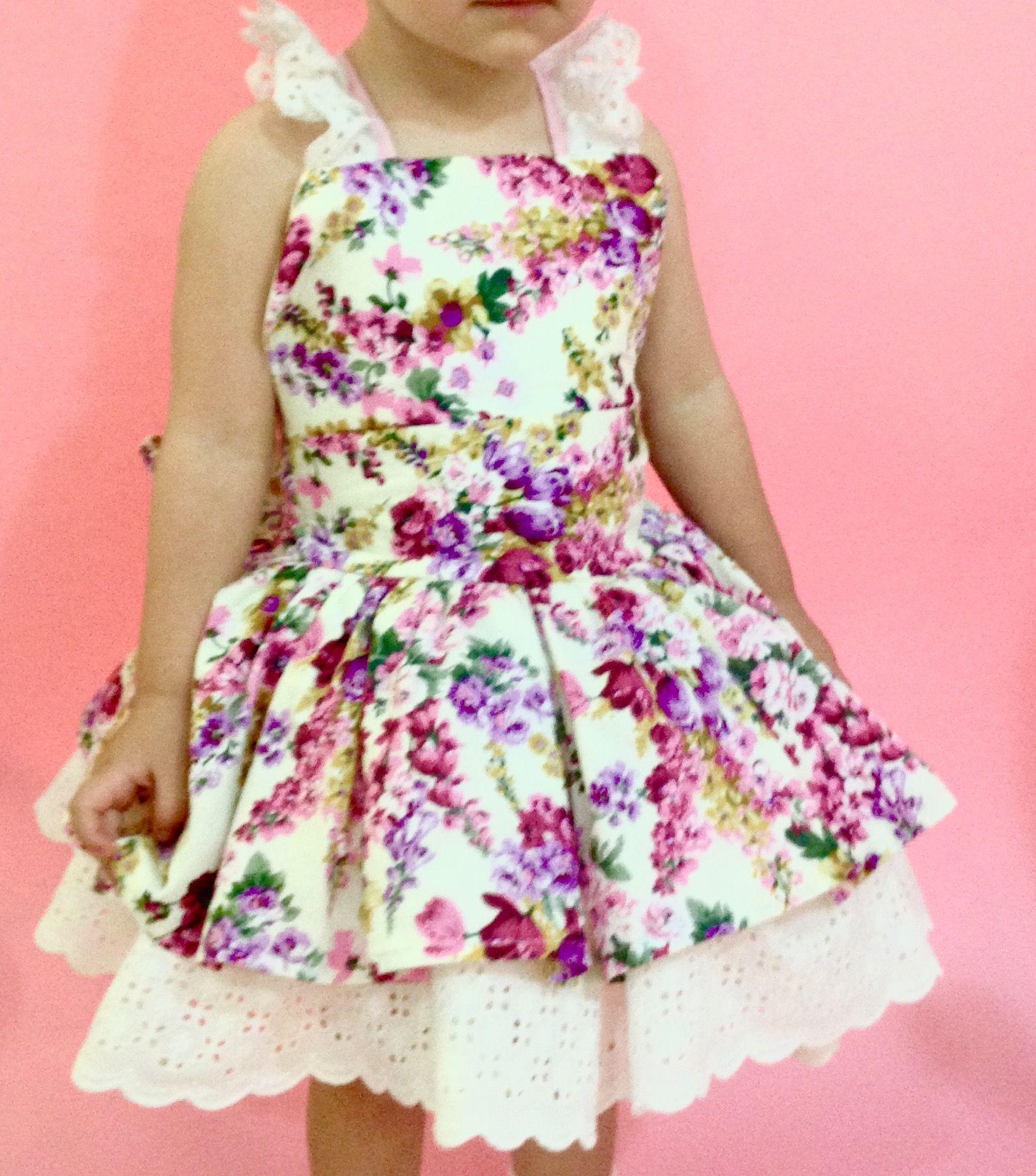 Vestido de niña Marca Lil Algodón floreado y guipur | Niñas | Pinterest