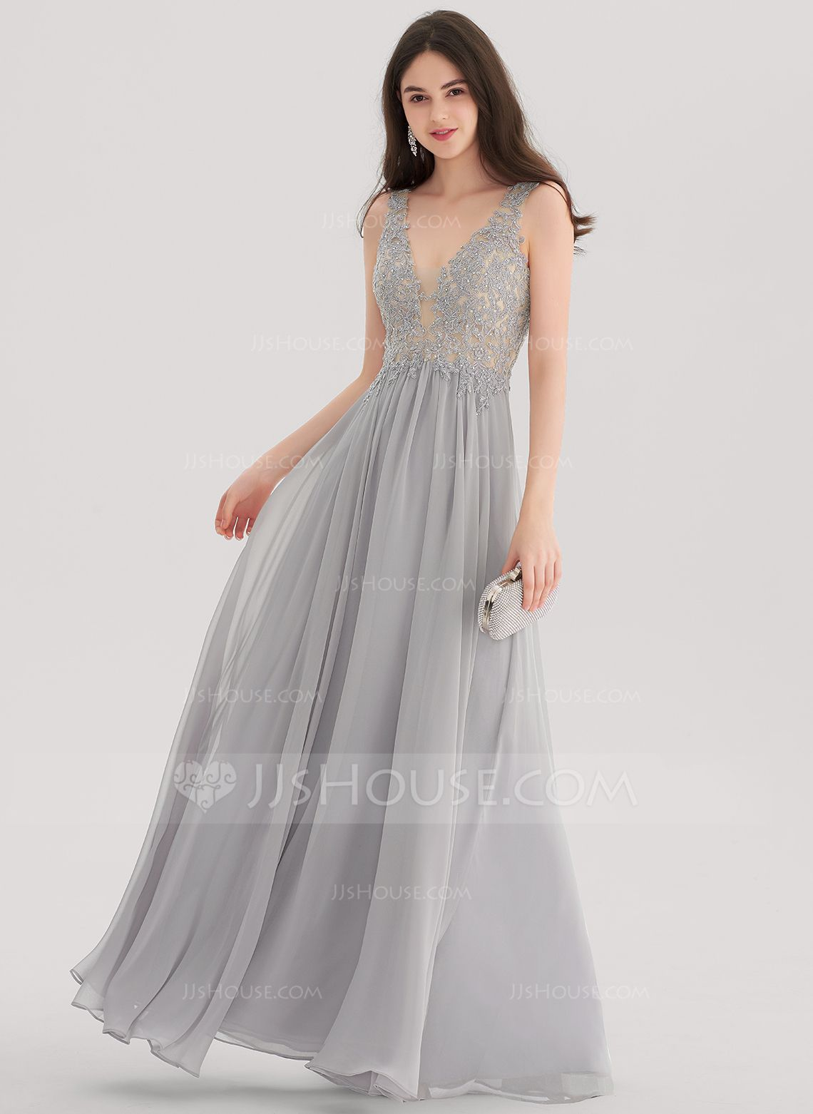 Alineprincess vneck floorlength chiffon prom dresses with