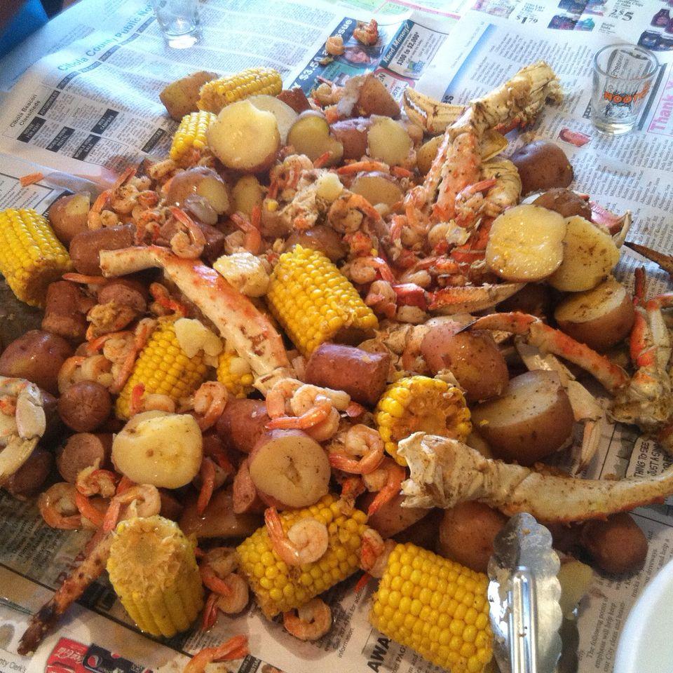 Seafood Boil Crab Legs Crawfish Shrimp Corn Sausage And Potatoes Seafood Boil Recipes Crab Legs