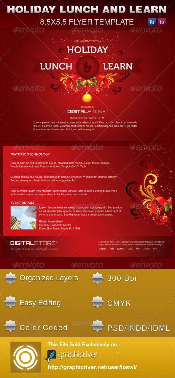 Holiday Lunch And Learn Flyer Template  Flyer Template Template