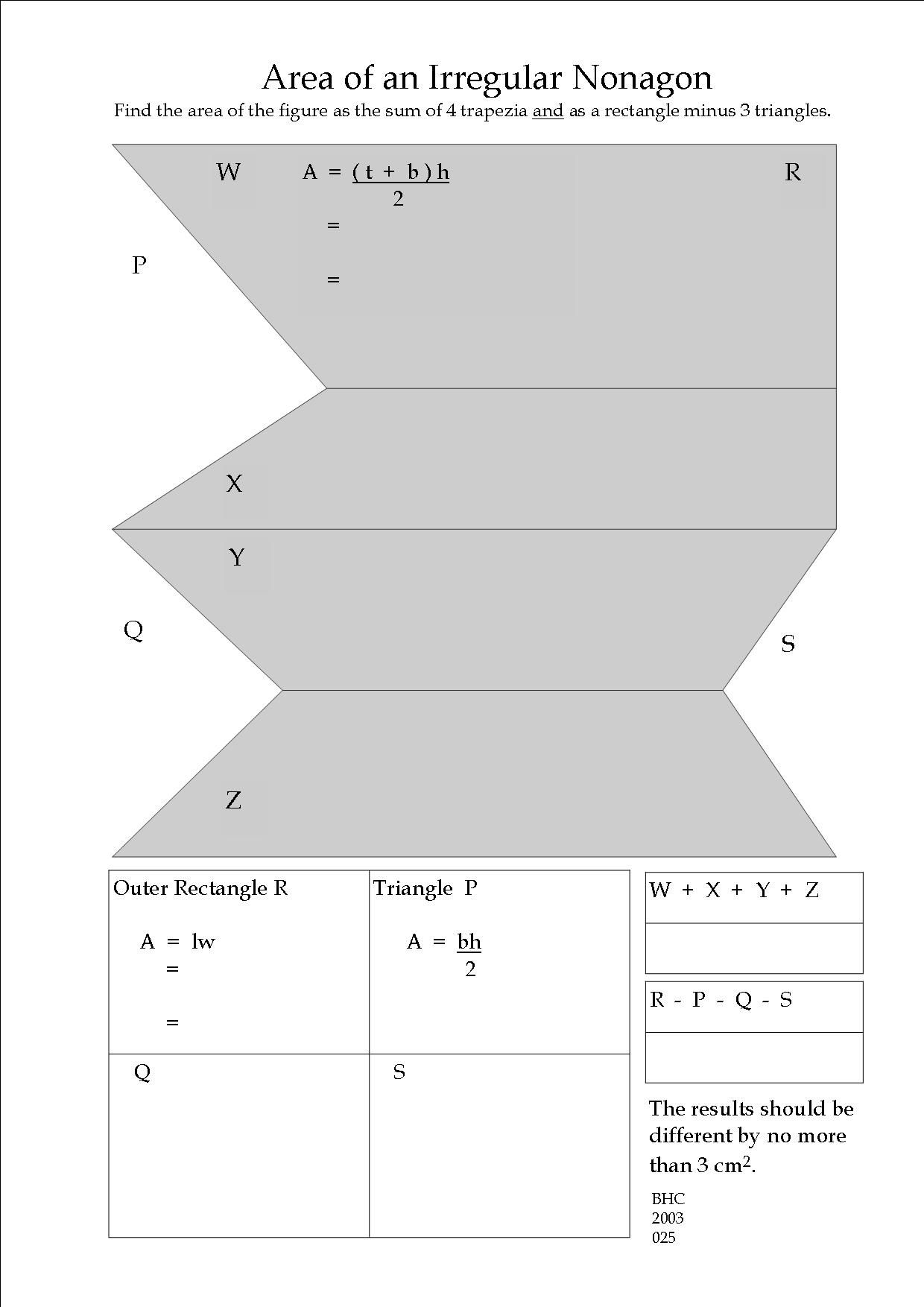 A write-on worksheet for practising measurement, area calculation and error- finding.