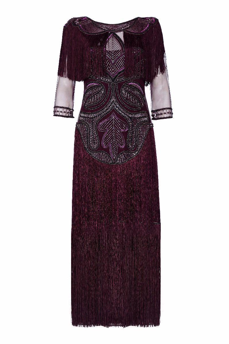 11de00aeed667b Glam Art Deco Fringe Flapper Maxi Dress in Plum