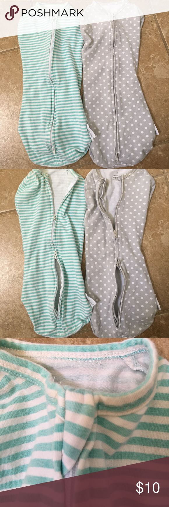 2 swaddle me swaddles Selling TWO. These things are the best! They are targets knock off of the woombie. Our little guy loved these! They are a breeze to get on and change diapers since they have  2 zippers. You will love having these swaddle me Pajamas Sleep Sacks