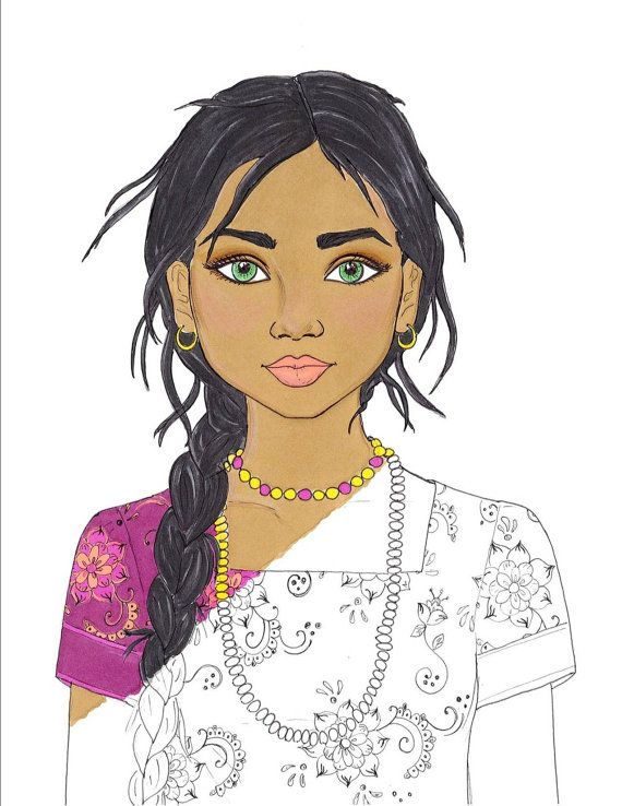 coloring page indian girl portrait 1 printable by colorbyculture - Girl Indian Coloring Pages
