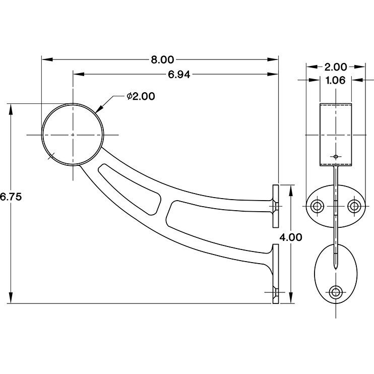 bar mount foot rail bracket - gunmetal grey