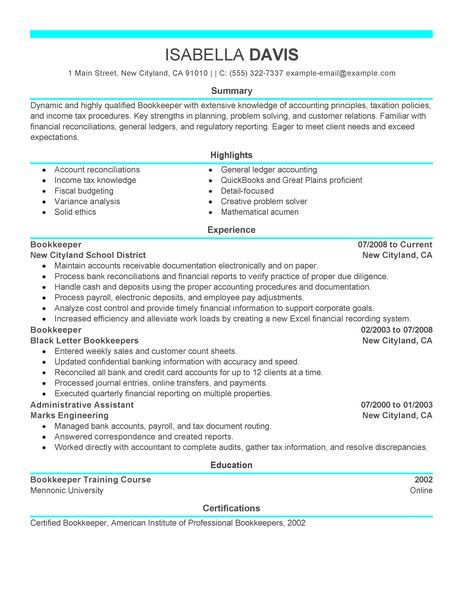 Bookkeeper Resume Examples  Accounting  Finance Resume Examples