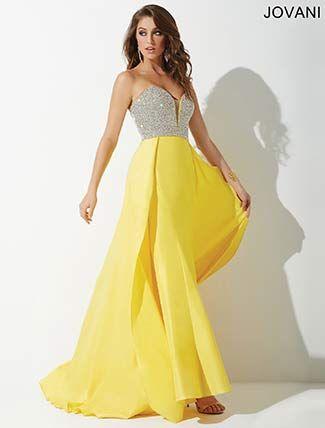 Yellow Beaded Taffeta Prom Dress 33175 | Night Dresses | Pinterest ...