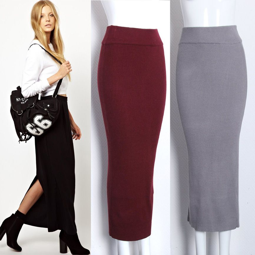 stretch knit ankle-length pencil skirt - Google Search | Winter ...