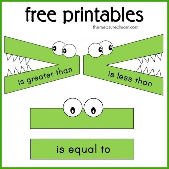 Greater Than Less Than Alligator Free printables greater than | Math ...