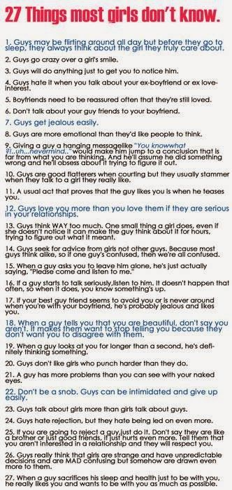 Things a girl should know about guys